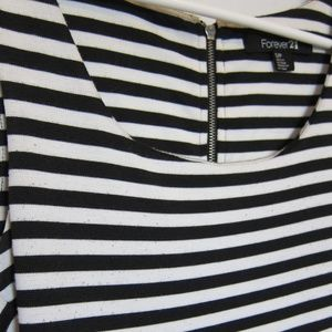 Striped Fitted Black and White Cocktail Dress